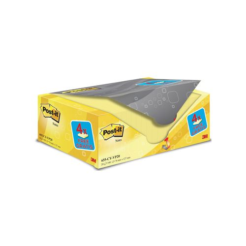 Post-it Notes, 76 x127mm, geel, 100vel,pak van 16 + 4 gratis