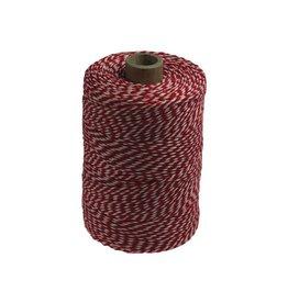 Katoentouw klos van 200 g, rood-wit, +/- 200 m
