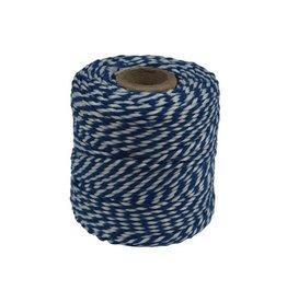Katoentouw klos van 50 g, blauw-wit, +/- 45 m