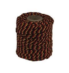 Katoentouw klos van 50 g, zwart-geel-rood, +/- 35 m
