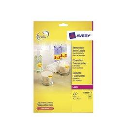 Avery Etiket Avery l7651y-25 38.1x21.2mm neon