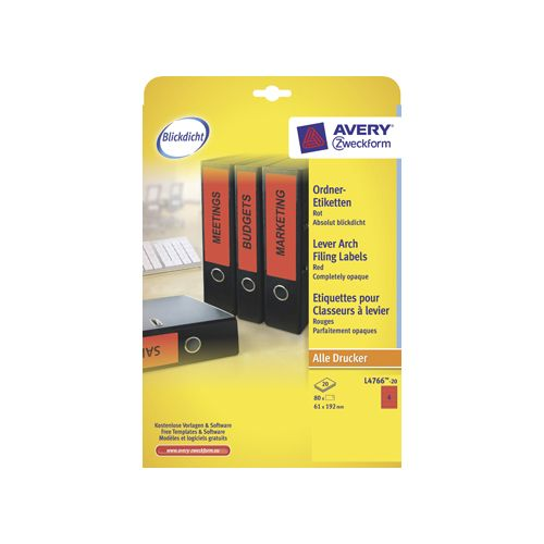 RUGETIKET AVERY L4766-20 192X61MM ROOD 80ST