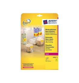 Avery Avery Afneembare neon etik. 63,5x29,6 mm 20 bl, 540st, geel