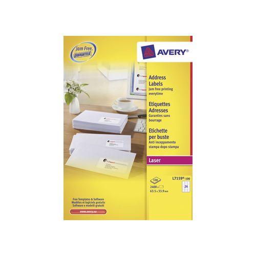 Avery Avery witte l.etik. QuickPeel 100bl 63,5x33,9mm 2400st 24/bl