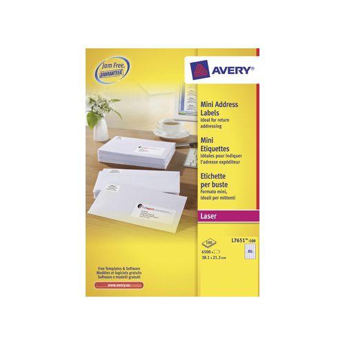 Avery Avery witte l.etik. QuickPeel 100bl 38,1x21,2mm 6500st 65/bl