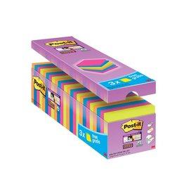 Post-it Post-it Super Sticky Notes 76x76mm div. kl. pak21+3 gratis