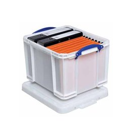 Really Useful Box Really Useful Box 35 liter, wit met blauwe handvaten [6st]