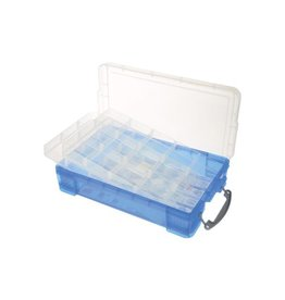 Really Useful Box Really Useful Box 4 liter met 2 dividers, transparant blauw