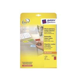 Avery Zweckform Avery afneembare gekleurde etiketten ft 63,5 x 33,9 mm