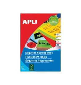 Apli Apli fluorescerente etiketten 99,1 x 67,7 mm (b x h) geel