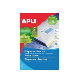 Apli Apli afneembare witte etik. 25,4x10mm 4.725st, 189/bl 25 bl