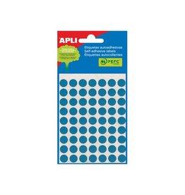 Apli Apli ronde etiketten in etui diameter 10 mm, blauw, 315 stuk