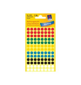 Avery Zweckform Avery Ronde etiketten diameter 8 mm, geassorteerde kleuren,