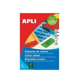 Apli Apli Gekleurde etik. 105x148mm blauw, 80st, 4/bl, 20 bl