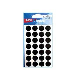 Agipa Agipa ronde etiketten in etui diameter 15 mm, zwart, 168 stu