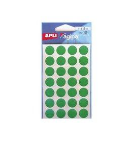 Agipa Agipa ronde etiketten in etui diameter 15 mm, groen, 168 stu