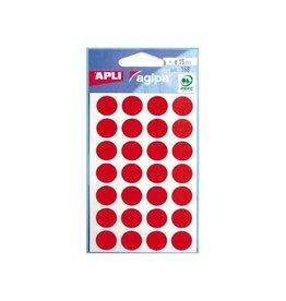 Agipa Agipa ronde etiketten in etui diameter 15mm rood 168st