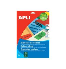 Apli Apli Gekleurde etiketten 210x297mm(bxh),rood,100st,1per blad