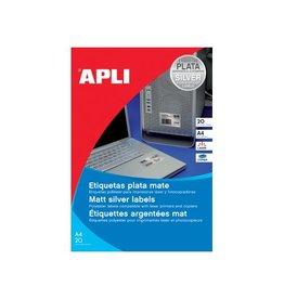 Apli Apli etiketten 210 x297 mm (b xh), 20st, 1 per blad, zilver