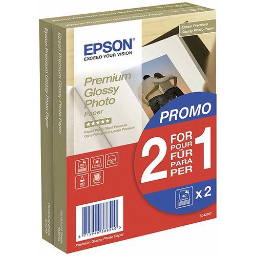 Epson Premium Glossy Photo Paper 2 voor de prijs van 1, 100 x 150 mm, 255g-m², 80 Vel
