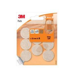 3M 3M beschermende vloerpads, uit vilt, diameter 25mm, 8st