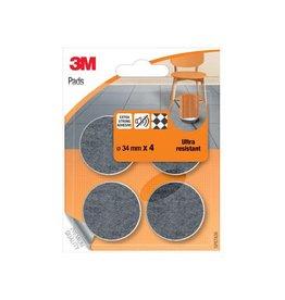 3M 3M beschermende vloerpads, uit vilt, diameter 34mm, 4st