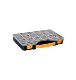 Perel Perel gereedschapskoffer met 18 vakjes, zwart/geel