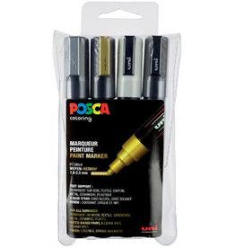 Posca Posca paintmarker PC-5M, met 4st geassorteerde met kl.
