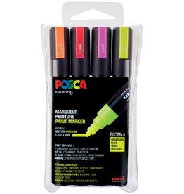 Posca Posca paintmarker PC-5M, etui met 4st geassorteerde fluo kl.