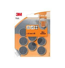 3M 3M viltglijders, Ultra Resistant, diameter van 22 mm, 8st