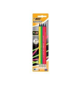 Bic Bic potlood met gum Evolution fluo, blister met 4st [25st]