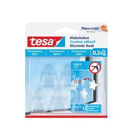 Tesa Tesa klevende Haak voor tran. en Glas draagvermogen 200g 5st