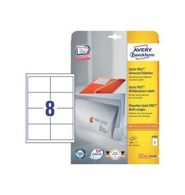 Avery Zweckform Avery witte universele etik. QuickPeel 97x67,7mm, 240st