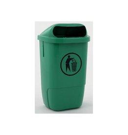 Merkloos Afvalbak uit kunststof, inhoud 50 L, groen
