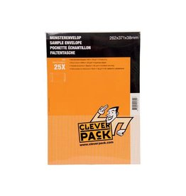 Cleverpack Cleverpack monsterenveloppen, 262x371x38mm, wit, 25st