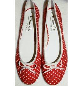 Tamaris Ballerinas rot mit weißen Punkten