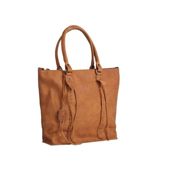 """Chabo Bags Schoudertas """"Indian Shopper"""" van Geschuurd Rundleer-Cognac"""