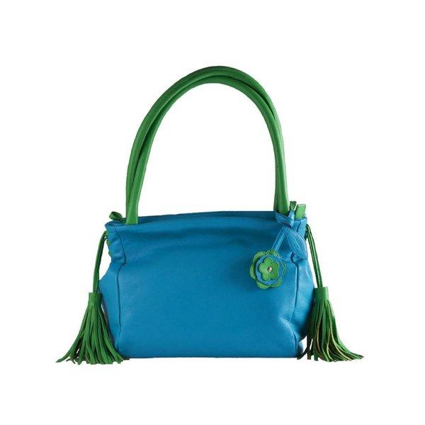 """Burkely Leren Handtas """"Saphire"""" in de kleuren Turquoise - Groen"""