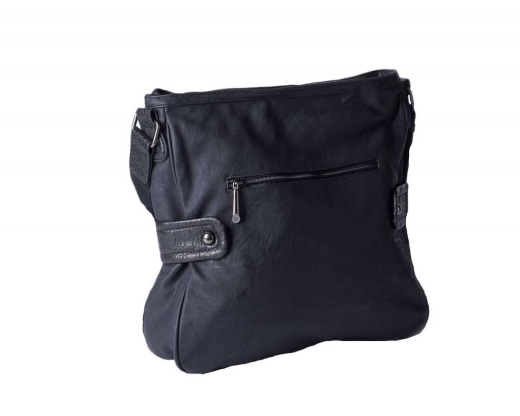 Schoudertassen David Jones : Zwarte schoudertas van david jones in imitatie leer de