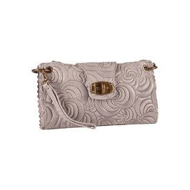 Borse in Pelle Leren Clutch Flower