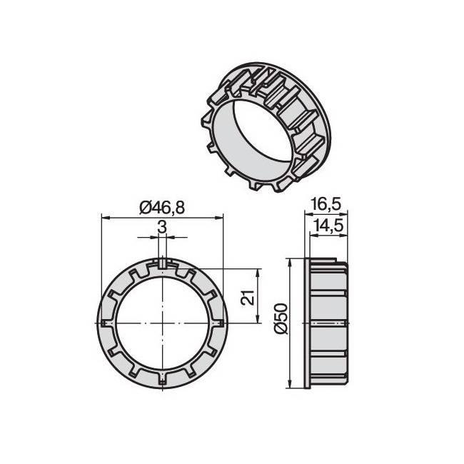 Becker Verloopring Ø 40 mm naar Ø 50 mm - P serie motoren