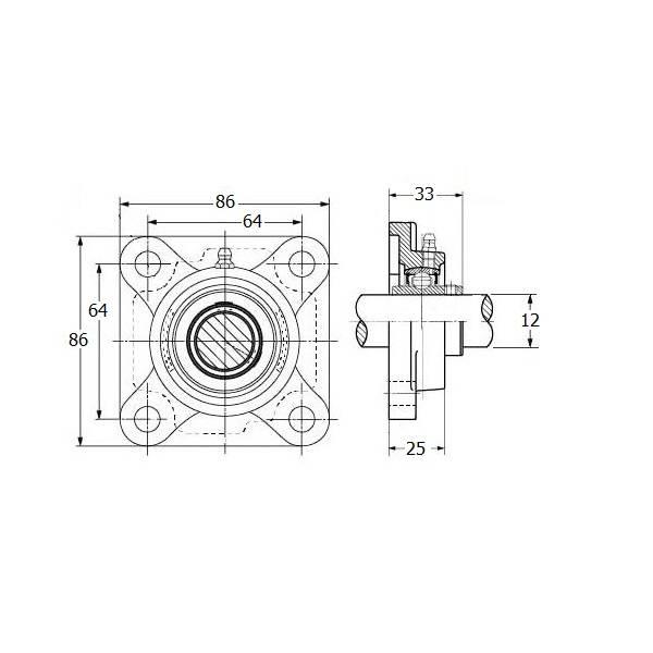 IBB Stalen lager, precisie flenslager, asgat 12 mm
