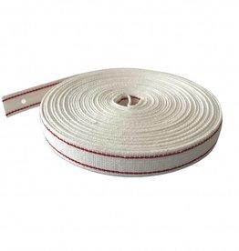 Selve Optrekband 22 mm, katoen, wit/rood, per meter