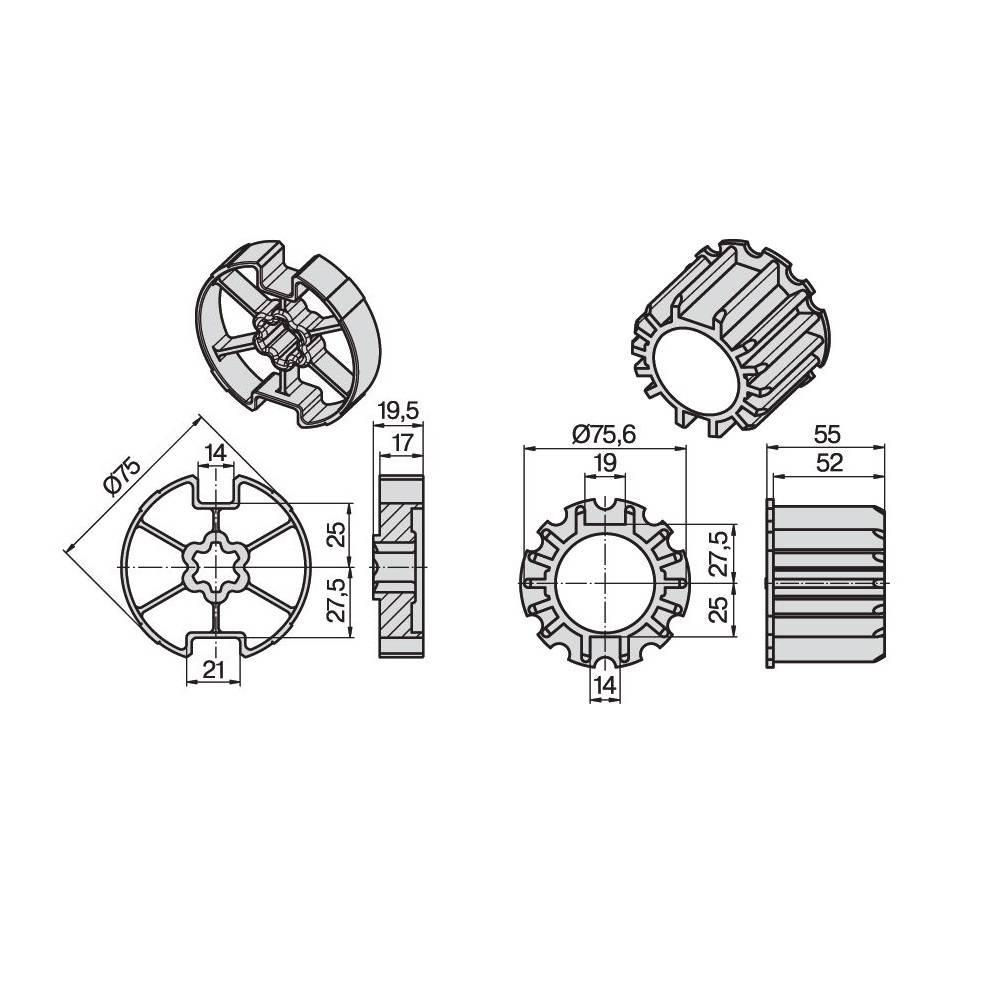 Becker Adaptieset Ø 78 x 1,5 - R serie motoren
