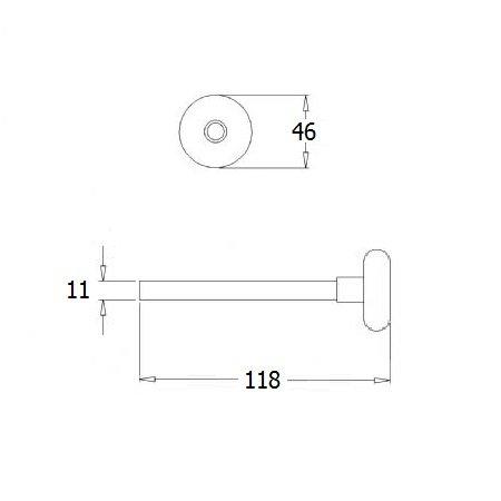 DRFX Loopwiel RVS kort, as Ø 11 mm, lengte 118 mm