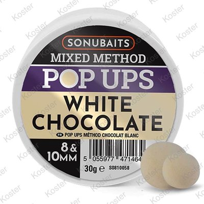 Sonubaits Pop Ups White Chocolade 8 & 10 mm.