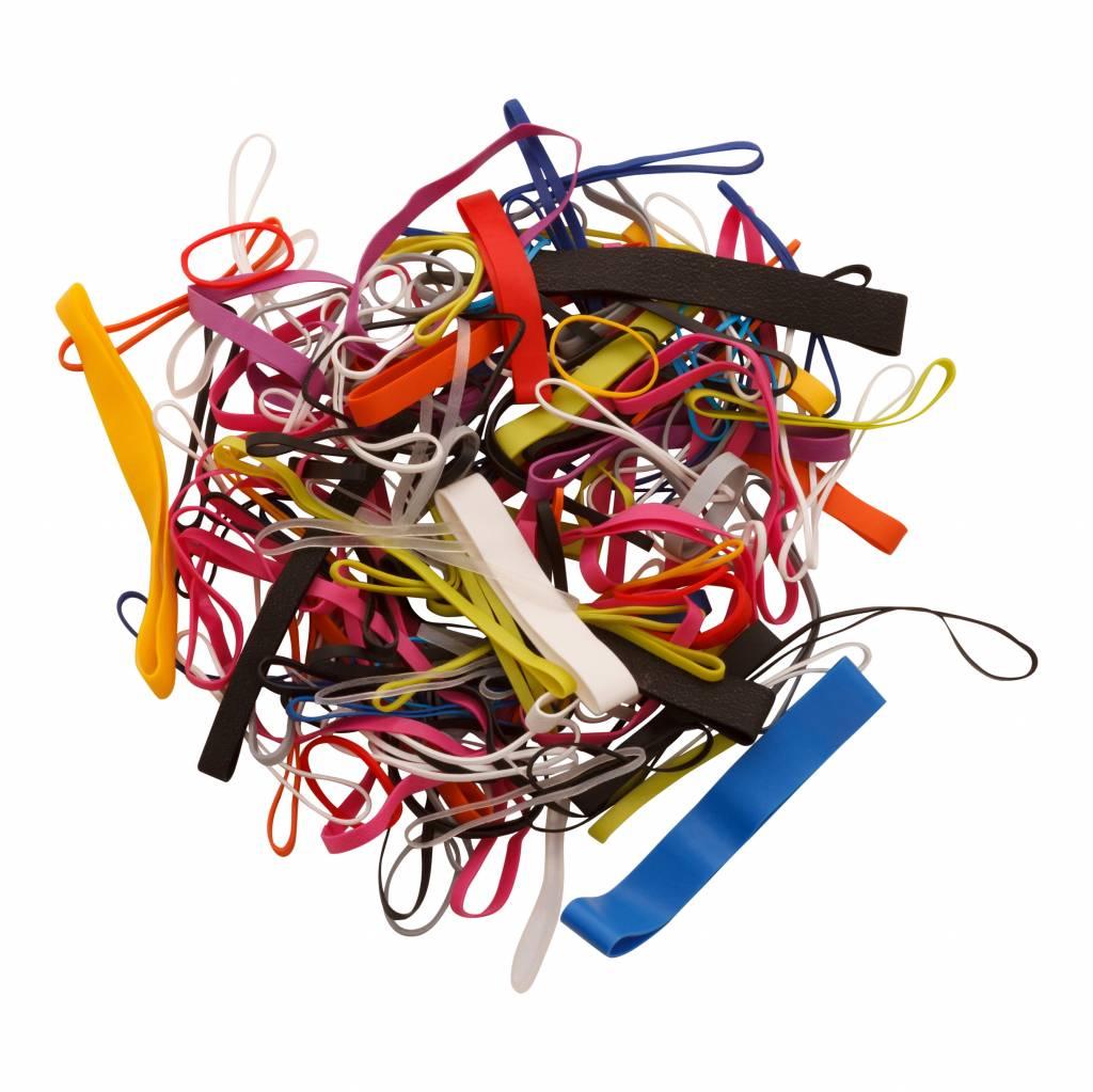 Zak met 100 stuks gekleurde elastiekjes in diverse maten