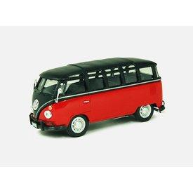 Cararama Modelauto Volkswagen VW T1 Samba Bus rood/zwart 1:43 | Cararama