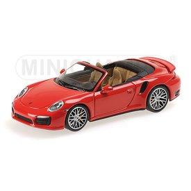 Minichamps Modelauto Porsche 911 Turbo S Cabriolet 2013 rood 1:43 | Minichamps