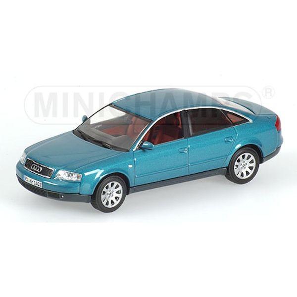 Modelauto Audi A6 1997 blauw groen metallic 1:43